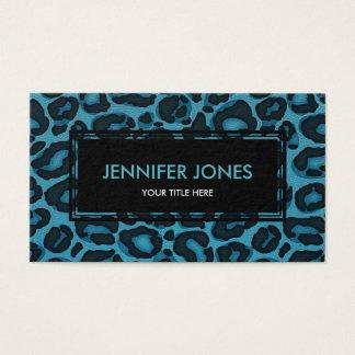 Leopard/ Jaguar print on Teal Blue Faux Leather Business Card