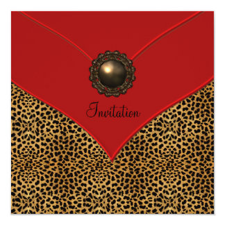 Leopard Jewel Red All Occasion Party 13 Cm X 13 Cm Square Invitation Card