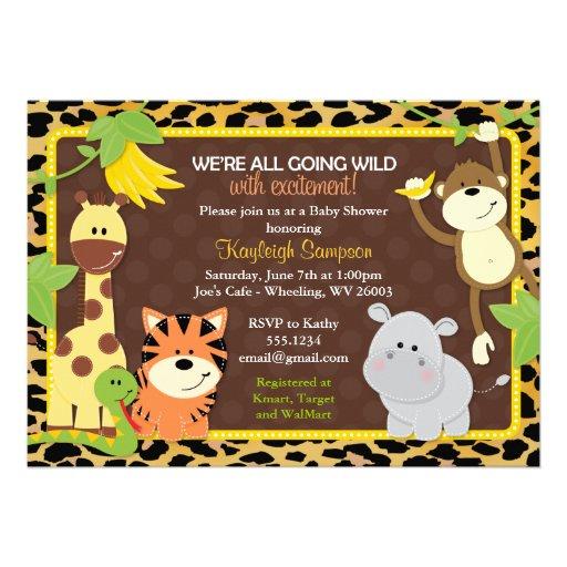 leopard jungle friends baby shower invitations 5 x 7 invitation c