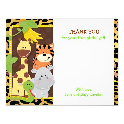 Leopard Jungle Friends Baby Shower Thank You Cards Custom Announcements