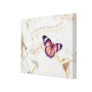 Leopard Lacewing Butterfly Edited Shabby and Chic Canvas Print