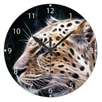 Leopard lines,Leopard painting Large Clock