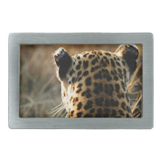 Leopard Looking Off Into Distance Rectangular Belt Buckle