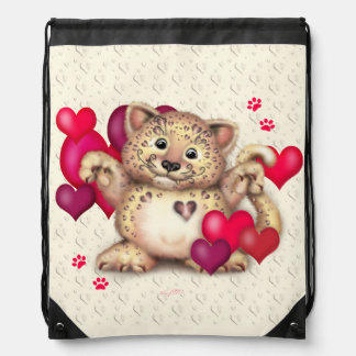 LEOPARD LOVE CARTOON Drawstring Backpack