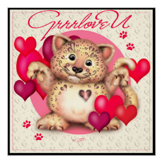 LEOPARD LOVE CUTE CARTOON Perfect Poster