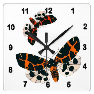 Leopard Moths in Flight Formation Square Wall Clock