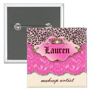 Leopard n Lace Makeup Artist Pink Crown Button