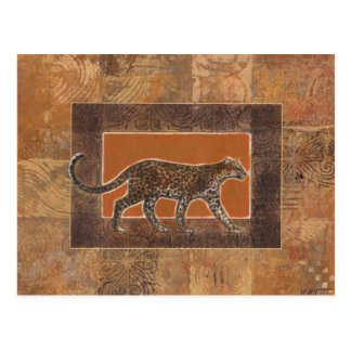 Leopard on Orange and Brown Background Postcard