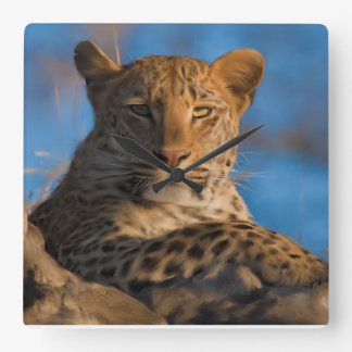 Leopard On Rock Square Wall Clock