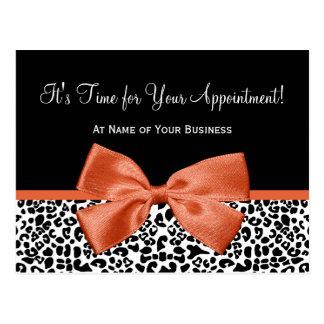 Leopard Orange Bow Salon Appointment Reminder Postcard