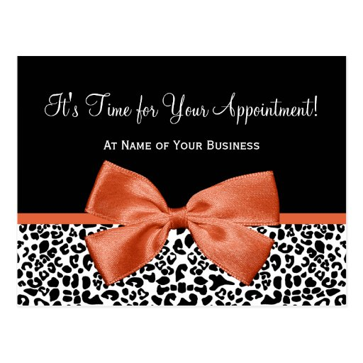 Leopard Orange Bow Salon Appointment Reminder Post Cards