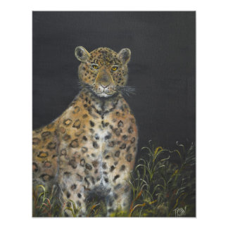 Leopard painting on photo print