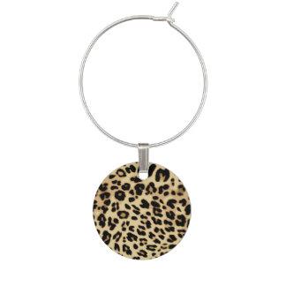 Leopard Pattern Animal Print Black/Gold Wine Glass Charm