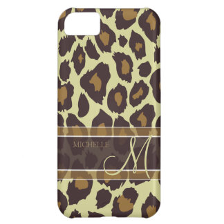 Leopard Pattern - Brown and Tan with Monogram iPhone 5C Case