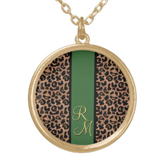 Leopard Pattern Custom Monogrammed Necklaces