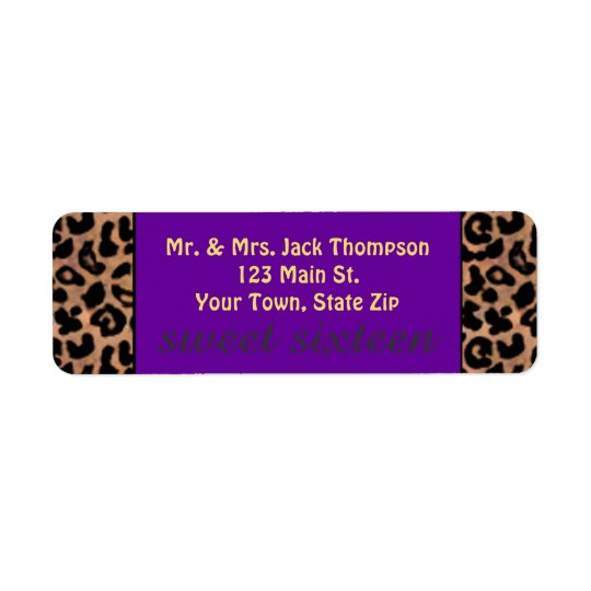 Leopard Pattern Purple Stripe Sweet 16 Return Address Label