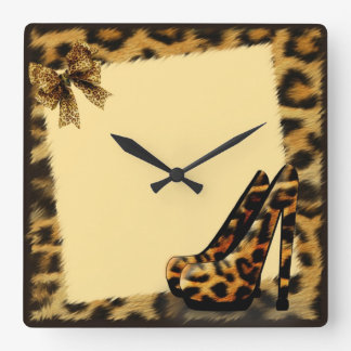 Leopard Pattern Shoes personalized Square Wall Clock