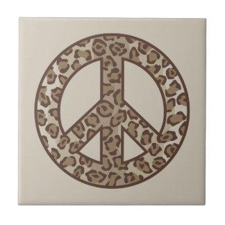 Leopard Peace Symbol Ceramic Tile