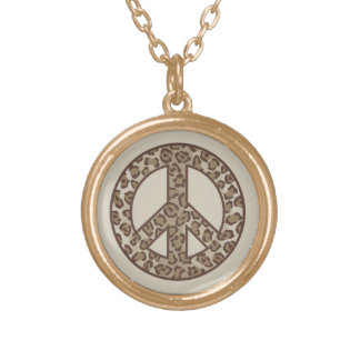 Leopard Peace Symbol Gold Plated Necklace