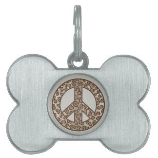 Leopard Peace Symbol Pet Name Tag