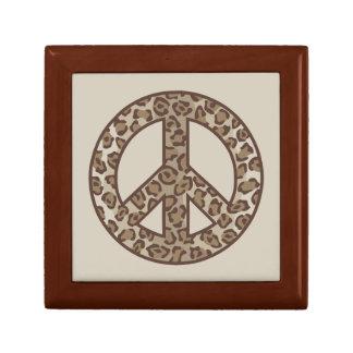 Leopard Peace Symbol Small Square Gift Box