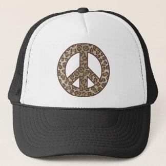 Leopard Peace Symbol Trucker Hat