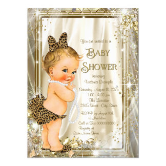 Leopard Pearl Girly Baby Shower 17 Cm X 22 Cm Invitation Card