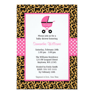 Leopard Pink Carriage Dots Baby Shower 13 Cm X 18 Cm Invitation Card