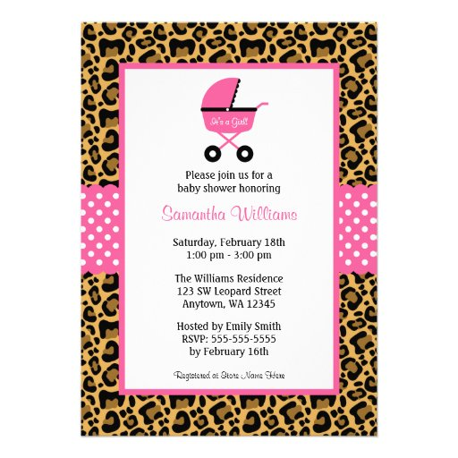 Leopard Pink Carriage Dots Baby Shower Custom Invite