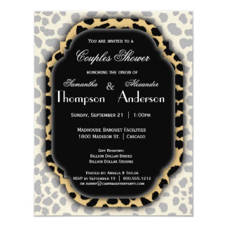 Leopard Print And Black Accent Frame Invite