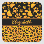 Leopard Print and Paws Orange Yellow Personalized Stickers