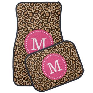 Leopard Print and Pink Custom Monogram Floor Mat