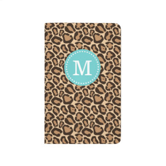 Leopard Print and Turquoise Custom Monogram Journal