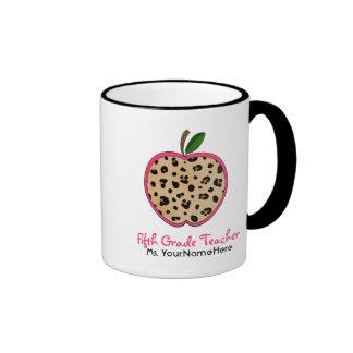 Leopard Print Apple Fifth Grade Teacher Mug