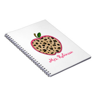 Leopard Print Apple Spiral Notebook For Teachers