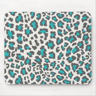 Leopard Print Aqua, Gray, White Mouse Pads