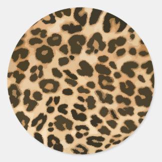 Leopard Print Background Classic Round Sticker