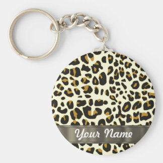 leopard print basic round button key ring