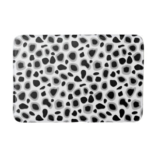 Leopard Print, Black and White Bath Mat