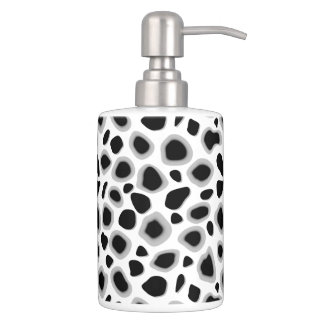 Leopard Print, Black and White Soap Dispenser And Toothbrush Holder