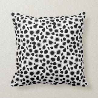 Leopard Print - Black and White Throw Pillow