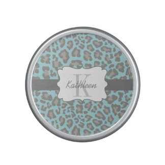 Leopard Print Blue and Gray Bumpster Speaker