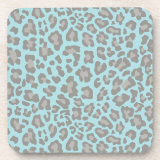 Leopard Print Blue and Gray Coasters