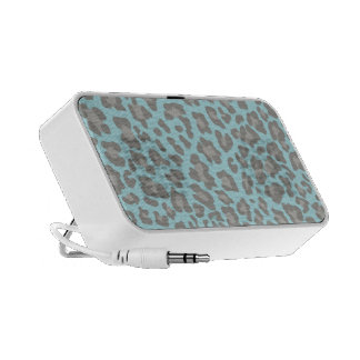 Leopard Print Blue and Gray Mini Speakers