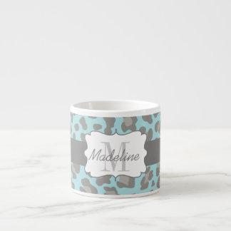 Leopard Print Blue and Grey Espresso Mug