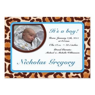 Leopard Print Blue Birth Announcements