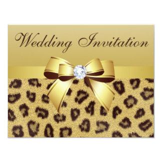 Leopard Print, Bow & Diamond  Wedding Invitation