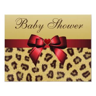 Leopard Print, Bow & Heart Baby Shower 11 Cm X 14 Cm Invitation Card