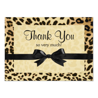 Leopard Print Bow Thank You Note 11 Cm X 16 Cm Invitation Card