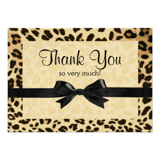 Leopard Print Bow Thank You Note Personalized Invites